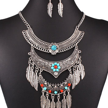 Silver Beaded Feather Drop Tassel Multirow BOHO Chain Necklace