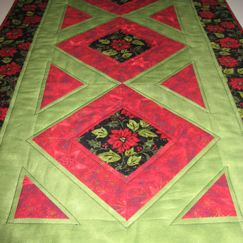 Quilted Christmas Table Runner , Red and Green ,  Poinsettia