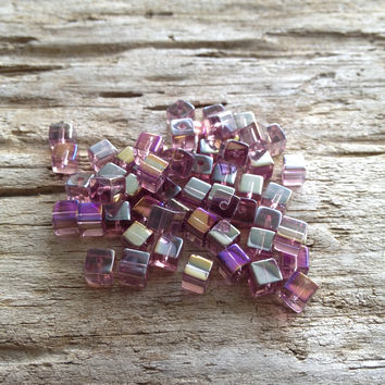 Purple Cube Beads AB Finish
