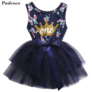 Newborn Baby Girl Clothing Set 2017 Summer Fashion One Printed Lace Big Bow Party Tulle Flower Princess Wedding Dresse