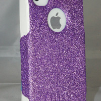 Custom Glitter Case Otterbox for iPhone 4/4S Orchid Purple/White