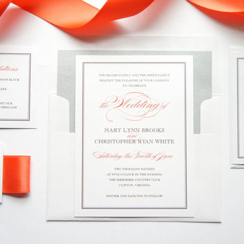Coral Wedding Invitation - DEPOSIT