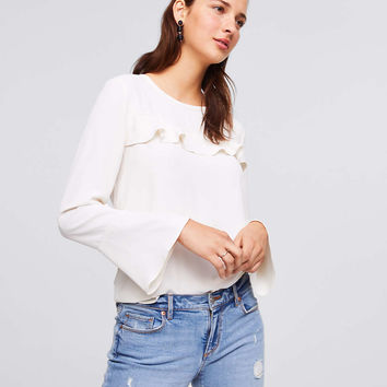 Ruffle Mixed Media Blouse | LOFT
