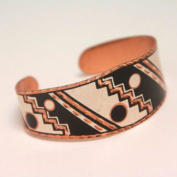 Southwestern Solid Copper Modernist Cuff Bracelet | Native American Aztec Indian Boho Chunky Tribal Jewelry | Black and White Funky Unique