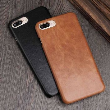6S Cover for iPhone 10 X Case Genuine Leather Cases for iPhone 6 S 7 Plus Back Case Retro Caps for iPhone 8 Cover Concise Fundas