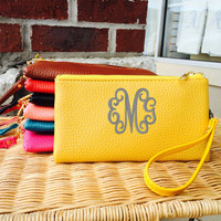 Monogram Yellow Wristlet Wallet Leather like Font shown INTERLOCKING in grey