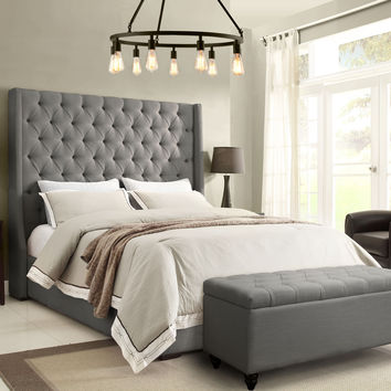 Park Ave Queen Tufted Wing Bed by Diamond Sofa - Grey