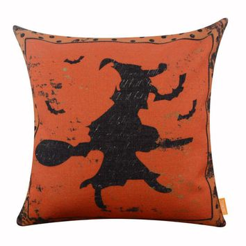 LINKWELL 45x45cm Happy Halloween Day Pumpkin Orange Witch Black Bat Dot Seasonal Decoration Home Pillowcase Burlap Cushion Cover