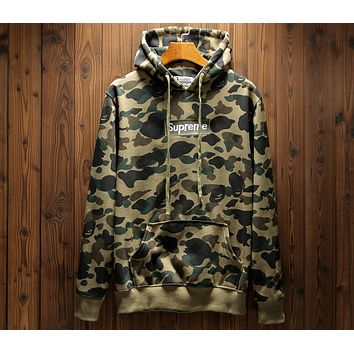 Supreme x Bape joint series camouflage sultry men and women zipper sweater F-A-KSFZ green