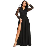 Women's Lace Party Ball Gown Solid Color Elegant Formal Wedding Sexy Long Deep V-neck Split Long dress Vestito lungo *n