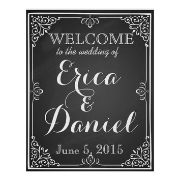 welcome to the wedding of poster sign chalkboard