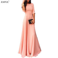 Ladies Vogue Women's A-Line Elegant Round Neck Half Sleeve Pink Maxi Dress Plus Size