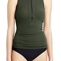 Women's Swimsuit Sleeveless Chest Zip Vest Rashguard Swimwear