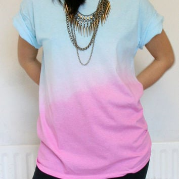 Turquoise to Pink Unisex Ombre Dip Dye 100% Cotton T Shirt size Medium