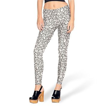 Cats Collage Women's Black & White Slim High Waisted Elastic Printed Fitness Workout Leggings