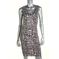 Bar III Womens Animal Print Sleeveless Cocktail Dress