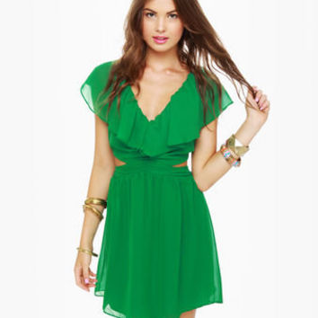 Cute Ruffle Dress - Green Dress - Cutout Dress - $47.00