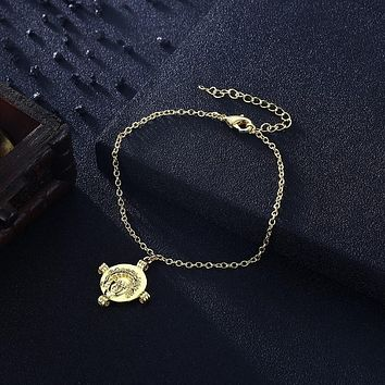 KJ Bracelet Fashion Jewelry Greek Coin Cross Bracelet in 18K Gold Plated