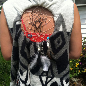 Tribal print Dreamcatcher sweater by Handspunhomegoods on Etsy