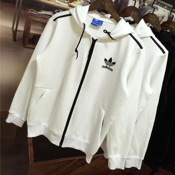 ADIDAS Clover autumn and winter trend men's plus velvet zipper cardigan hooded jacket White