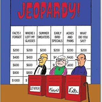 Senior Jeopardy Naughty Humor Birthday Greeting Card, Funny Birthday Card - Free Shipping