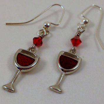 Wine Glass Earrings - Wine Earrings - Girls Night Out Earrings - Swarovski Earrings - Wine Glass Charm Earrings - Silver and Red
