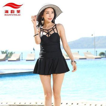 Trikini One Piece Swimsuit Dress Solid Black Red Bathing Suits Push Up Women Swimwear Swimming Suits For Women Maillot De Bain