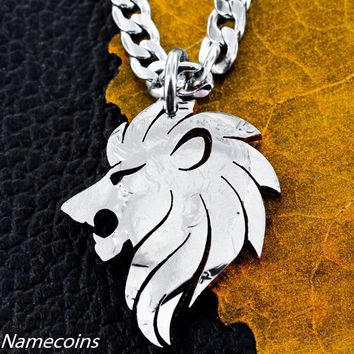 Lion Necklace, men's coin jewelry by Namecoins