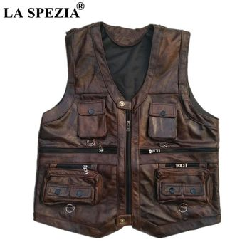 LA SPEZIA Genuine Leather Vest Men Brown Waistcoat Male Sleeveless Jacket Thick Photographer Motorcycle Vest Multi Pocket Zipper