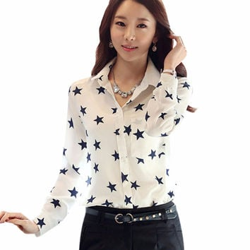 Star Button Down Collar Long Sleeves OL Career Work Office Blouse