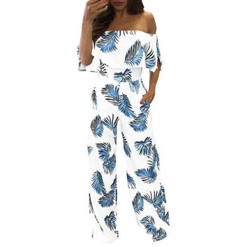 women's jumpsuit clothe Casual  Overalls for women Off Shoulder Floral Leaf Printed Sparkly Capelet LooseMAR 13