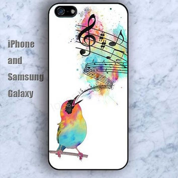 Bird music symbol colorful iPhone 5/5S Ipod touch Silicone Rubber Case, Phone cover