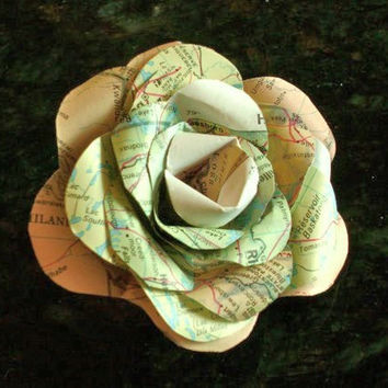 Vintage atlas map rose pin brooch corsage or mens boutonniere for weddings or prom