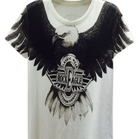 White Fierce Eagle Printed T-shirt