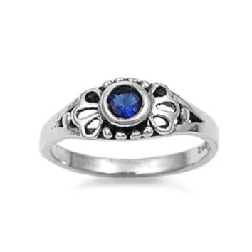 Sterling Silver Blue Sapphire CZ Ring Size 1-5