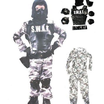 DCCKH6B Free shipping children halloween party  performance S.W.A.T Special Weapons And Tactics policeman clothing fireman suit costume