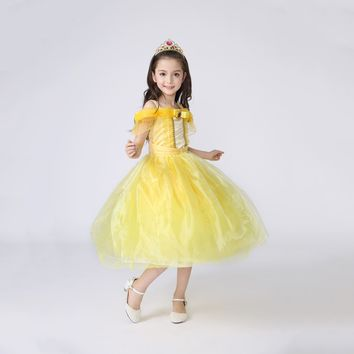 Princess Costume - Canary Yellow Bubble Gown Skirt Belle Dress - 👗💘👑🎃👠