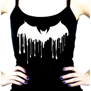 Drip Melting Vampire Bat Women's Spaghetti Strap Shirt Top Gothic Clothing