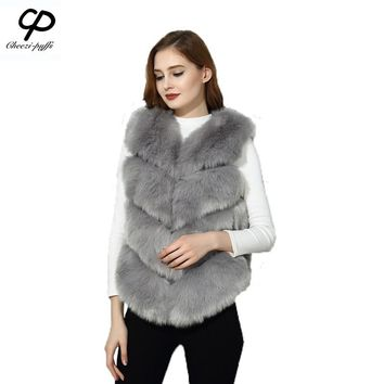 FF Brand Short Fur Vest Fashion Women Faux Fox Fur Vest Slim Shaggy Cute Fall Winter Woman Fake Fur Vest High Quality Faux Furs
