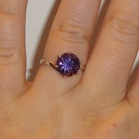 Size 8 Sterling Silver Prong Set 10mm Round Amethyst Ring