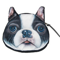 Boston Terrier Dog Face Coin Purse