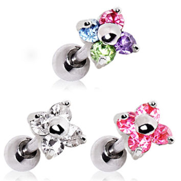316L Flower CZ Cartilage Earring