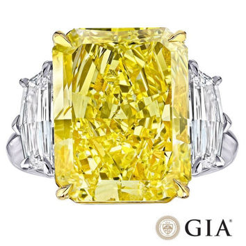 18.56ct Radiant Fancy Yellow GIA certified Diamond Ring 18kt DIAMOND SOLAR