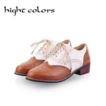 2017 Hot Sale Ballerina Flats Shoes For Women Color Block Oxford Casual Flat Shoes Moc