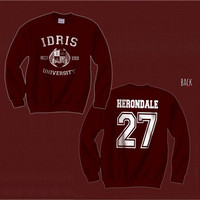 Herondale 27 IDRIS University Shadowhunters The Mortal Instruments Unisex Crewneck Sweatshirt Maroon