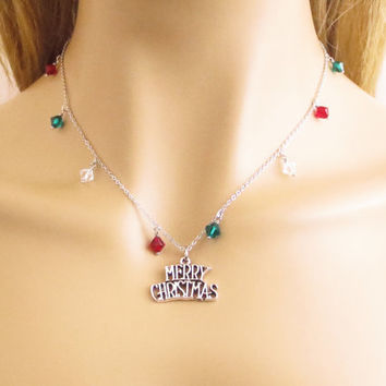 MERRY CHRISTMAS, Multi, Color, Swarovski, Stone, Silver, Necklace, Lovers, Friendship, Sister, Christmas, New year, Gift, Jewelry