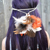 Leather Feather Headband - Hippie Headband - Festival Headband - Rave Wear - Hair Accessories