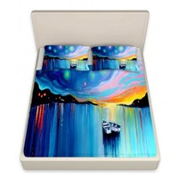 Artistic Bed Sheets | Aja-Ann | Midnight Harbor xxxii | DiaNoche Designs