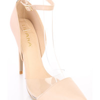 Nude Pointed Toe Ankle Strap Single Sole Heels Faux