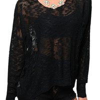 Black Trendy Sheer Long Sleeve Crocheted Knit Top